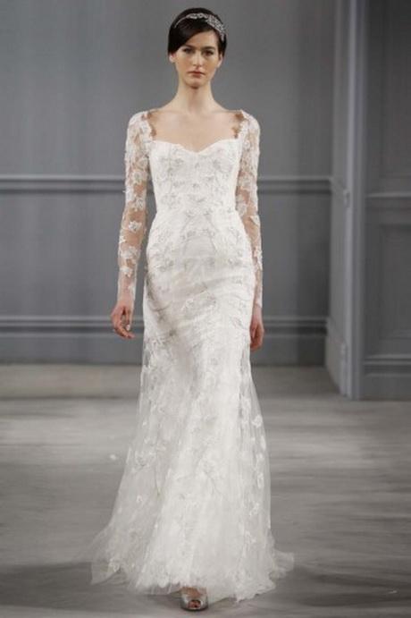 Abito da sposa longuette; Vestito da sposa con maniche lunghe in pizzo ...