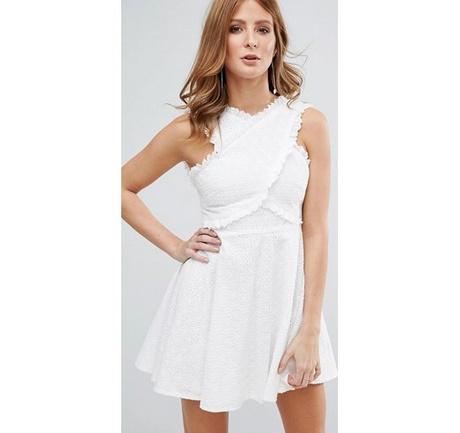 jarlo tall – vestito midi stile bardot in pizzo sangallo – bianco 5121a10e57e