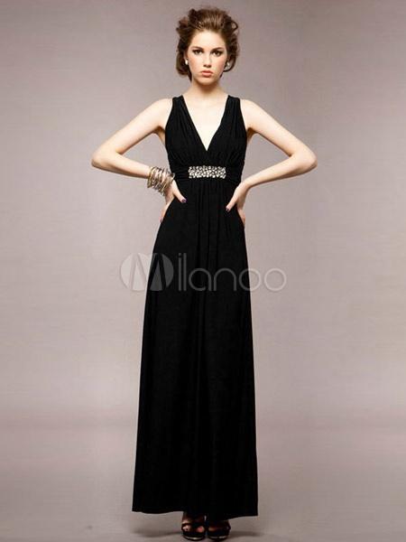 b0c20d7d90bc Vestito lungo nero elegante monocolore con scollo a V smanicato per le  feste -No. Vestito donna abito lungo inserti velati elegante party cerimonia  …