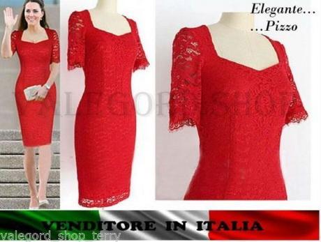 08a3f806e2d2 Vestito ROSSO tubino pizzo elegante cerimonia abito anni 50 vintage retrò  dress