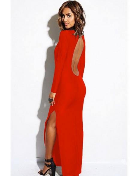 735b4859da89 Abito lungo rosso elegante da donna con scollatura