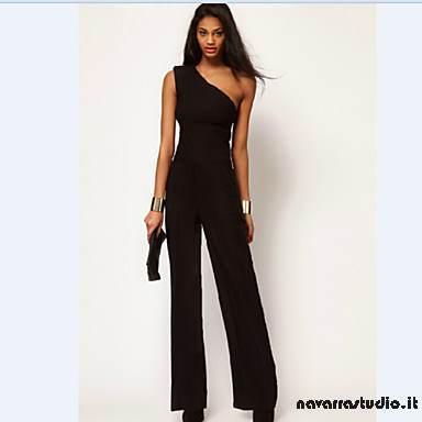 608155b416ff Tute eleganti XXL DONNE Combinazione   Bodycon +Z6)R   Feste   Lavoro  Monospalla Smanicato Cotone Abbigliamento da Donna