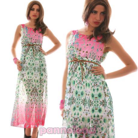 bff011f15112 Abito donna lungo vestito floreale multicolor velato fiori elegante …