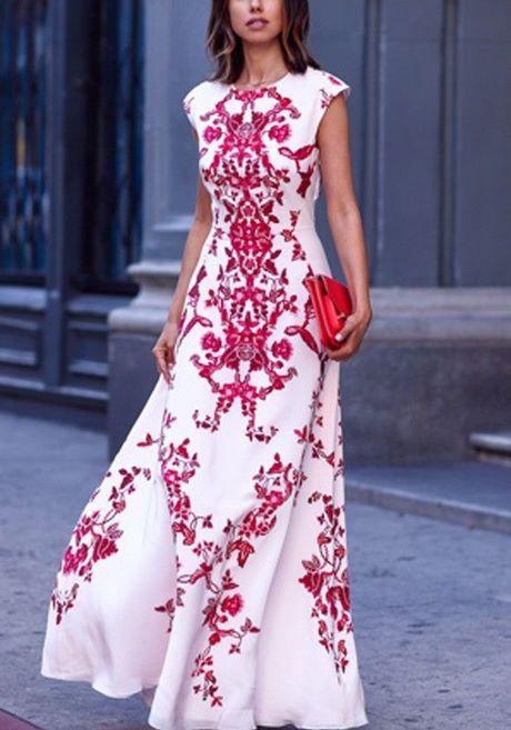 1e67f3a6272b Maxi abito fiori stampa chiffon elegante rosso bianco