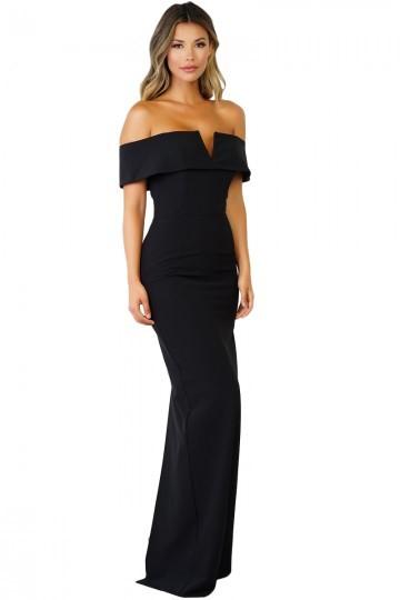 a4baa18426a7 Vestito donna MAXI nero elegante abito lungo da cerimonia sera party DS61876